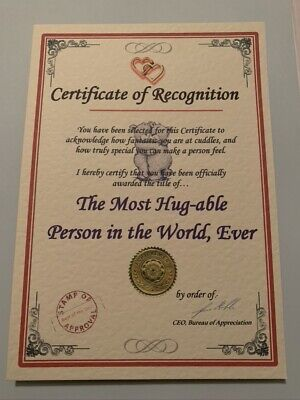 Someone Special Unusual gift for loved one Certificate Husband, Wife,  Present D