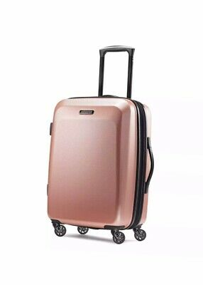 "American Tourister Moonlight Spinner 21"" Rose Gold Carry On Luggage Travel"