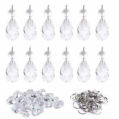 12Pcs38mm Clear Crystal Teardrop Chandelier Prisms Parts Hanging Galss Crystal