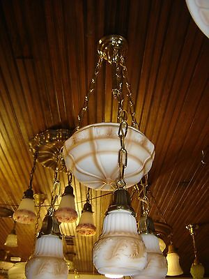 Antique Center Dome Light Fixture with 3 Matching Shades. Milk Glass   9244a