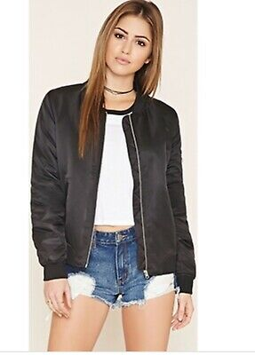 742701abf NEW FOREVER 21 Satin Bomber Jacket with Embroidered Roses in Navy Sz ...