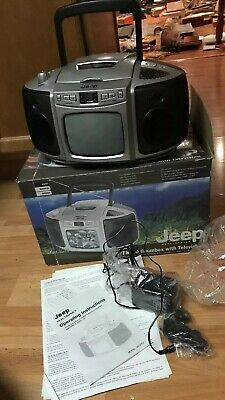 "Jeep Boombox Am/Fm Radio Cd Player With 5"" Portable Black & White Tv Television"