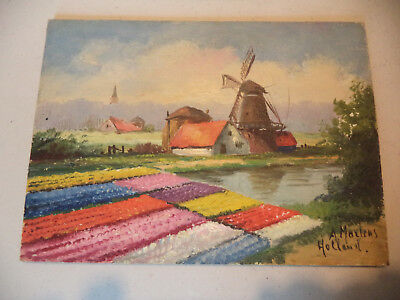 Antique Dutch Landscape Tulips Windmill Painting on Board Signed A Martens!1