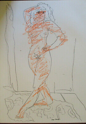 Modernist Abstract Sketch Nude Female Figure Chicago Artist Signed Faye Franklin