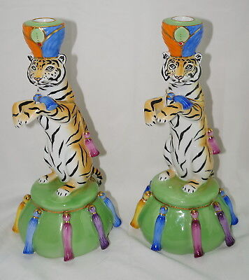 """Lynn Chase Tiger Raj (2) Candlestick Holders Candle Holders, 11½"""" x 5¾"""" RARE"""