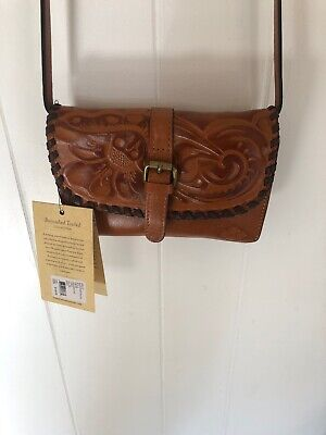 3aa65f8d5 Patricia Nash Torri BURNISHED Tooled GOLD / Brown Italian Leather Crossbody  Bag