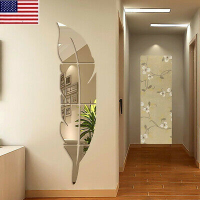 3D DIY Removable Feather Mirror Wall Stickers Art Vinyl Decal Room Home Decor OC