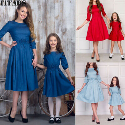 Fashion Women Mother Daughter Matching Dresses Summer Girl Dress Clothes Outfits
