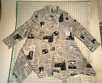 039b43f078a IC Collection by Connie K Black White Newspaper Print Asymmetric Tunic Top  Large