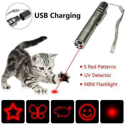 Pet Funny Cat Toy Multi-pattern LED Light Laser Pointer Pen USB Chargeable Gift