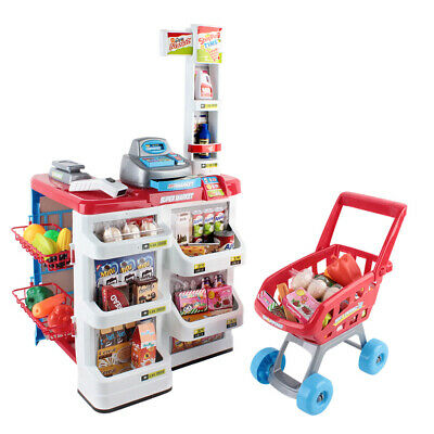 Kids Pretend Shop Play Set Toy Trolley Supermarket Store Scan Sound Light NEW