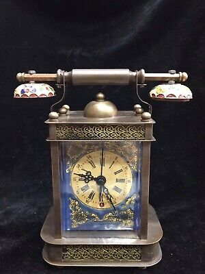 Chinese Old copper handmade phone Mechanical clock Watch Home decoration