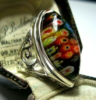 STERLING SILVER VINTAGE STYLE MILLEFIORI VENETIAN GLASS LARGE RING Size P 7.5