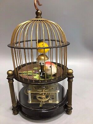 Chinese Old copper handmade bird Lotus Mechanical clock Watch Home decoration