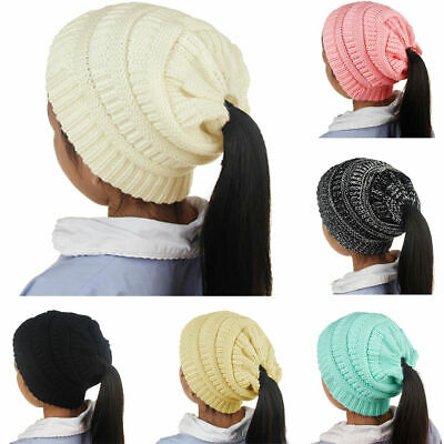 Girls Kids Ponytail Beanie Ribbed Winter Messy Bun Cable Warm Soft Knit Hat Cap