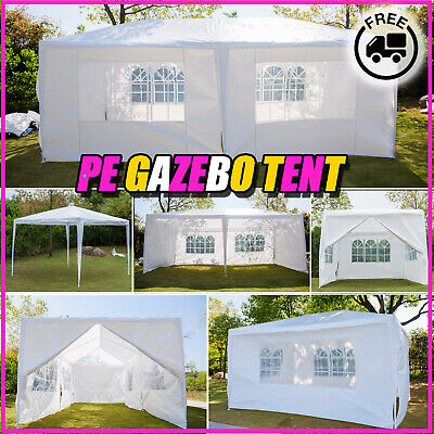 6M 4M 3M x3m PE Gazebo Marquee Outdoor Garden Party Tent Canopy 4/6 Side Panels