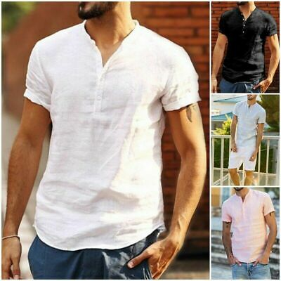 Camicia Uomo Collo cotone Slim Manica Corta camicia Men Casual T-Shirt Tops Tees