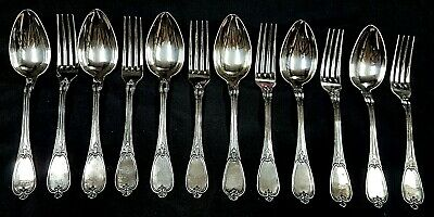 Superb Cased Set of 6 Victorian French Silver Plate Dessert Spoons & Forks c1880