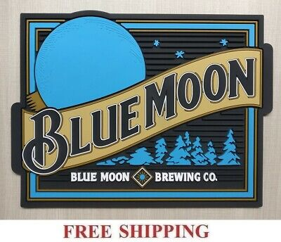 Blue Moon Belgian White Ale Beer Bar Spill Mat Rubber Coaster New