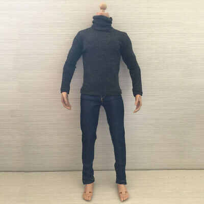 1:6 Scale Action Figure Outfit Clothing Dark Gray R-Neck Long T-shirt Shirt