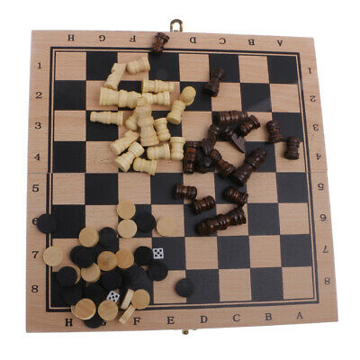 3-in-1 Wooden Pieces Folding Board Chess Set Draughts Backgammon Game Toy S