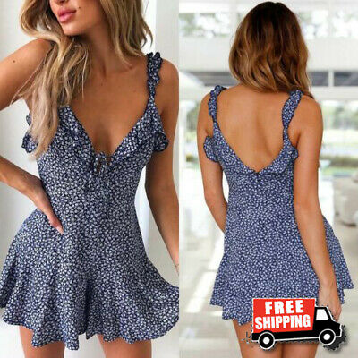 Boho Women Summer Mini Dress Ladies Strappy Holiday Floral Sundress Beach Party
