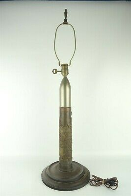 """WWI Trench Art 3"""" Diameter Floral Relief Shell Lamp 33"""" Tall U.M.C. Co Military"""