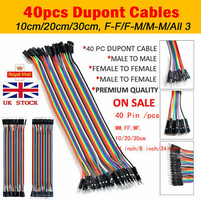 40 Pin Dupont Wire Line Ribbon Jumper Cables Breadboard Arduino M-F/M-M/F-F UK