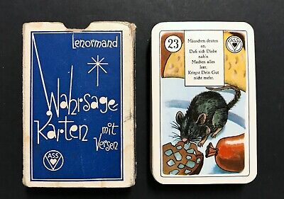 VTG 1950s Lenormand Fortune Telling Oracle Tarot Cards Stralsunder w. Verse
