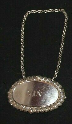 """Vintage Sterling Silver """"GIN"""" Liquor Tag Decanter Label Medallion w/ Chain 17g"""