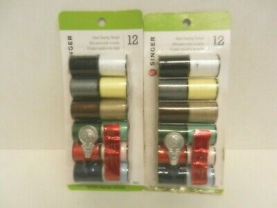 Singer Polyester Hand Sewing Thread ~ 12 Spools, 3 Needles & 1 Threader Each