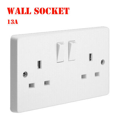UK Plug Switch 13 Amp Wall Socket Double 2 Gang Plug Wall Charger 2 USB Port