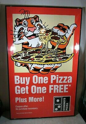 Vintage Exxon Tiger Domino's Pizza Buy 1 Get 1 Poster NOS Rare HTF Sign No Frame