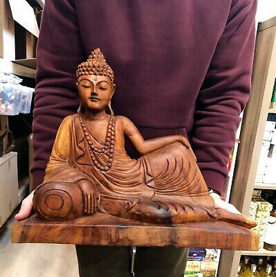 """Reclining Buddha Hand Carved Teak Solid Wood Statue 21"""" By Zenda Imports"""