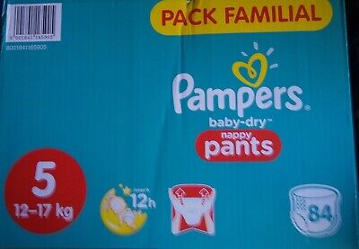 LOT DE 84 COUCHES CULOTTES PAMPERS BABY DRY taille 5 : 12 - 17 kg NEUF