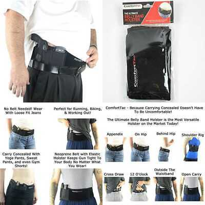 Comforttac XL Ultimate Belly Band Holster For Concealed Carry BLACK Fits Gun Smi