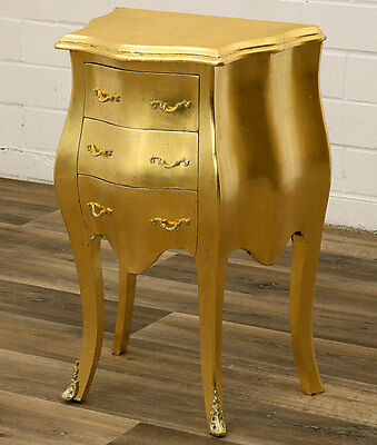 Barock Kommode Antik-Finish Gold Nachttisch Konsole, Table Commode, Nachtkonsole