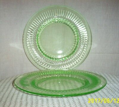 "Depression Glass Green Transparent 2 Plates 8½"" Wreath Relief Designs#1522-AB-FL"