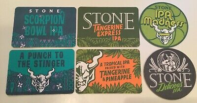 6 Stone Brewing Co Beer Bar Coasters Microbrewery Advertising