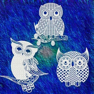 LACE OWLS (NOT FSL) 10 MACHINE EMBROIDERY DESIGNS CD or USB