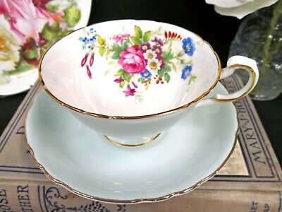 PARAGON tea cup and saucer baby blue floral rose teacup wide mouth set