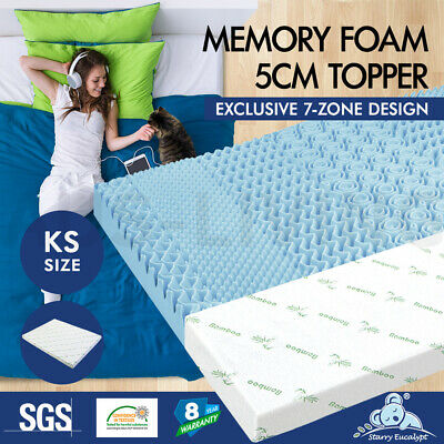 Starry Eucalypt Memory Foam Mattress Topper 7 Zone COOL GEL BAMBOO King Single 5