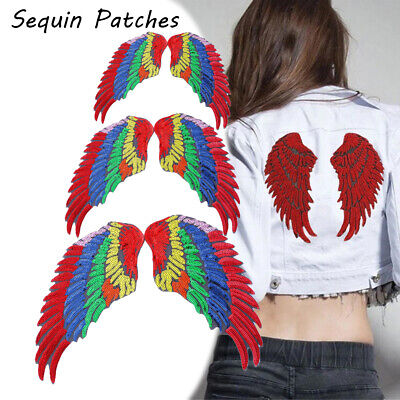 Crystal Applique Embroidery Sequin Patches Sew on Patch Angel Wings 3D Feather