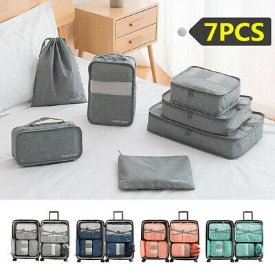 7pcs Packing Cube Pouch Suitcase Clothes Storage Bags Travel Luggage Organizer