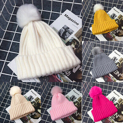 Girl Boy Winter Warm Knitted Beanie Ski Hat Kid Baby Faux Fur Bobble POM POM Cap
