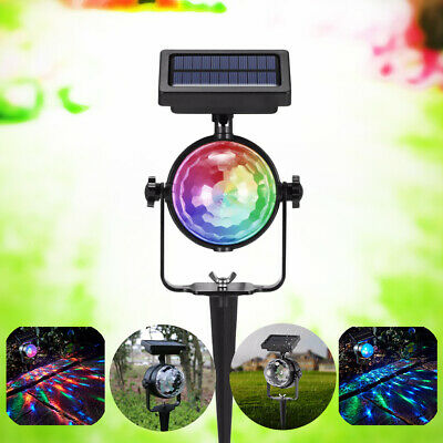 LED Solar Spot Lights Carnival Moving Changing Colour Rotating Party Stage Yard