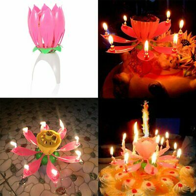 Romantic Musical Lotus Flower Birthday Music Candle for Birthday Cake Decor RY