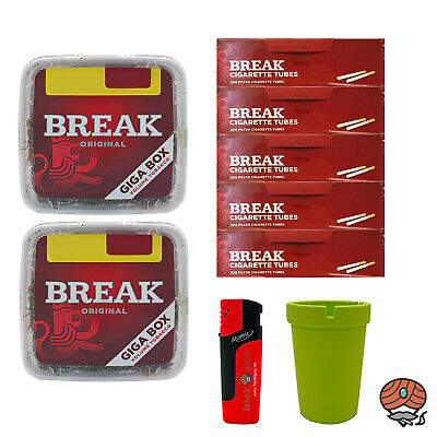 2x Break Volumentabak Giga Box 300 g + 1000 Break Hülsen, Sturmfeuerzeug