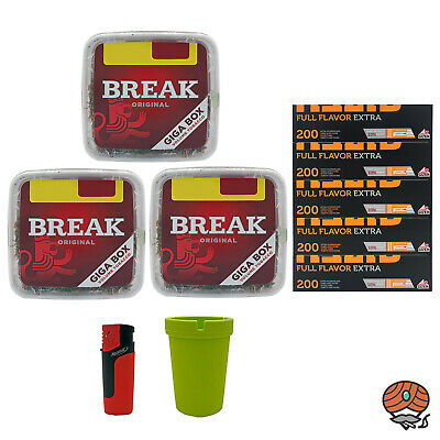 3x Break Volumentabak Giga Box 300g + 1000 Gizeh Full Flavor Extra Hülsen, Sturm