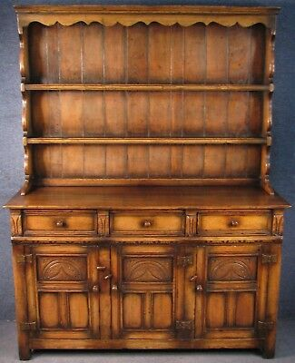 Titchmarsh And Goodwin Period Style Carved Solid Oak Dresser